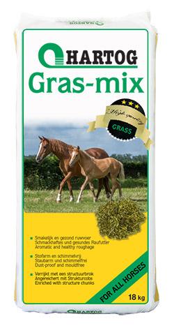 Gras-mix Hartog ruwvoer paardenvoer van gedroogd gras voor oudere paarden